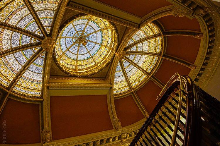 Looking up the elegant spiral staircase in the Executive Office building in the White House complex.