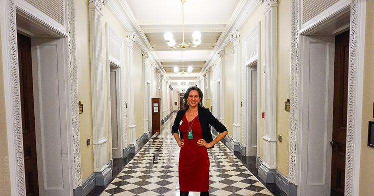 Feeling executive-like while hobnobbing in the Executive Office building of the White House. (The blazer helps, too!)