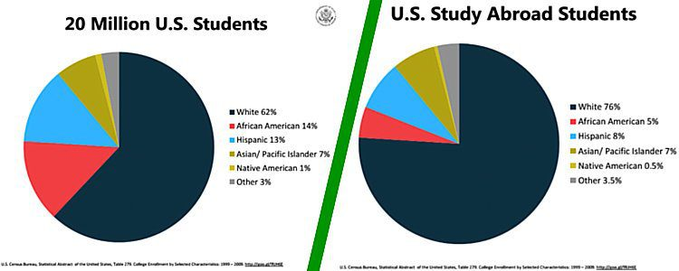 The racial breakdown of Study Abroad students does not reflect the diversity of the nation's study body.