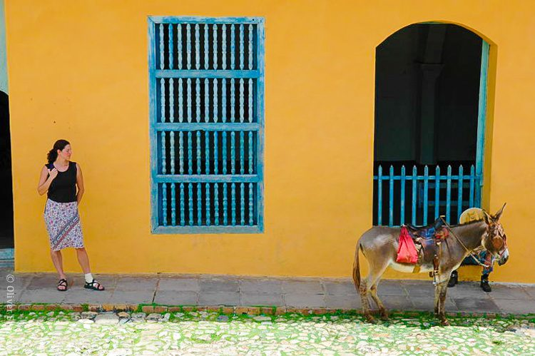 Me posing with a donkey and yellow wall in Trinidad, Cuba because... why not?