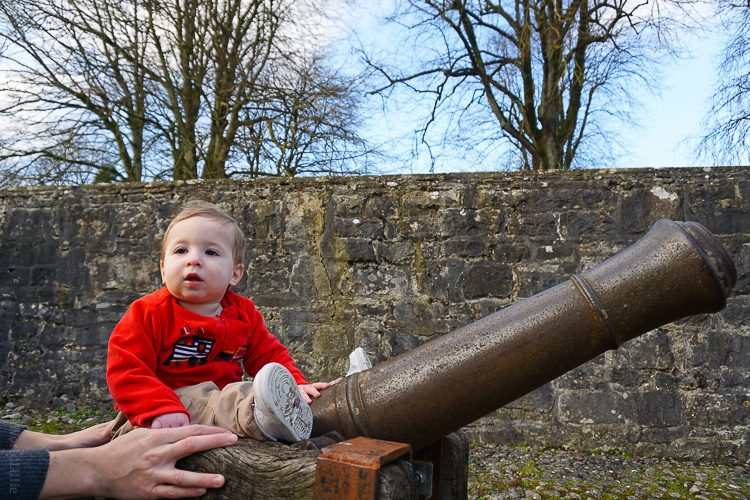 Bunratty Castle cannons with baby on top