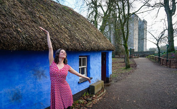 """Me in front of the """"Fisherman's Cottage"""" in the Bunratty Folk Park."""