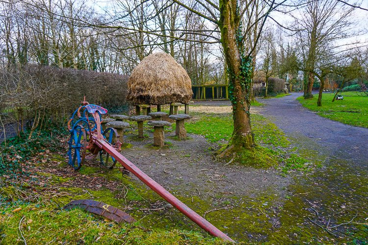 Bunratty Castle and Folk Park: An exciting farm tool and hay drying in heaps in the Folk Park.