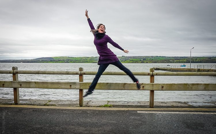 Jumping for joy in prAna while waiting for a ferry in Ireland.