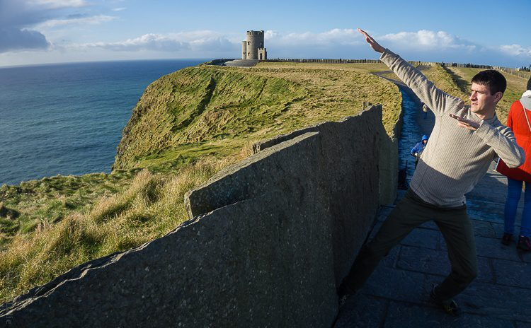 Posing at the Cliffs of Moher.