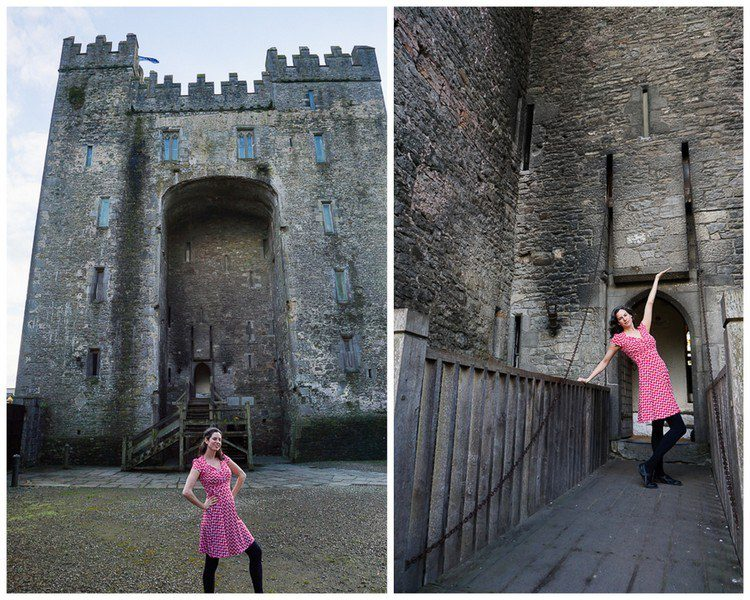 "This Ireland castle and moat call for a classy ""Sweetheart"" dress."