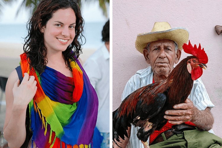 Me, happy on the Trinidad beach, and a Cuban local who was also featured in National Geographic!