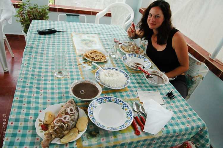 """Eating a delicious home-cooked meal during a stay in a """"Casa Particular"""" in Cuba."""