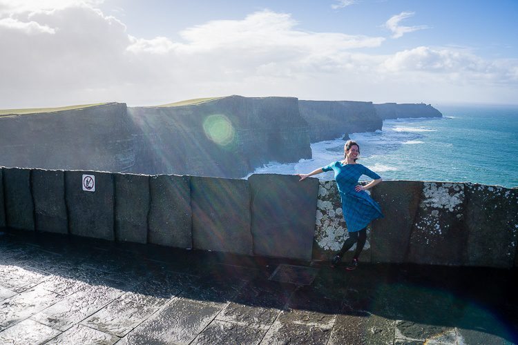 Feeling jaunty in the Ilana Leota style at the Cliffs of Moher, Ireland.