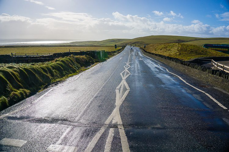 The road on the Wild Atlantic Way near the Cliffs of Moher, right before the second set of rainbows came.
