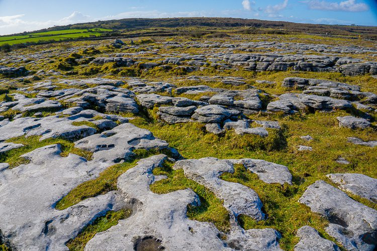 Burren Ireland: moonscape around Poulnabrone dolmen