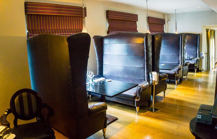 ...Or all the benches can be flipped 90 degrees to create a private room for a small party!