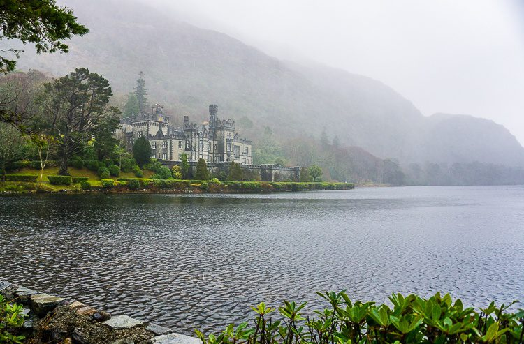 Kylemore Abbey Ireland in mist