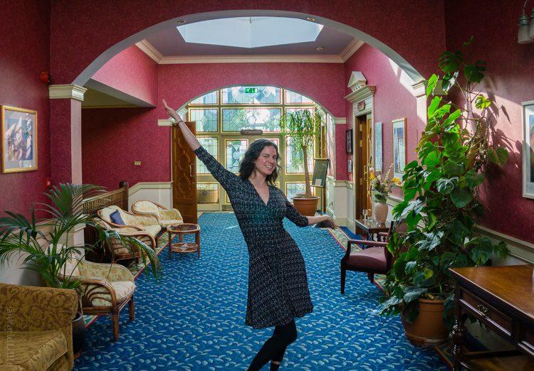 Rockin' the Perfect Wrap dress an a beautiful Ireland hotel lobby!