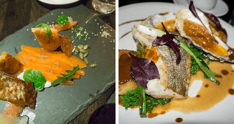 On the left, whiskey-cured salmon, and at right, locally-caught fish and a scrumptious oyster!