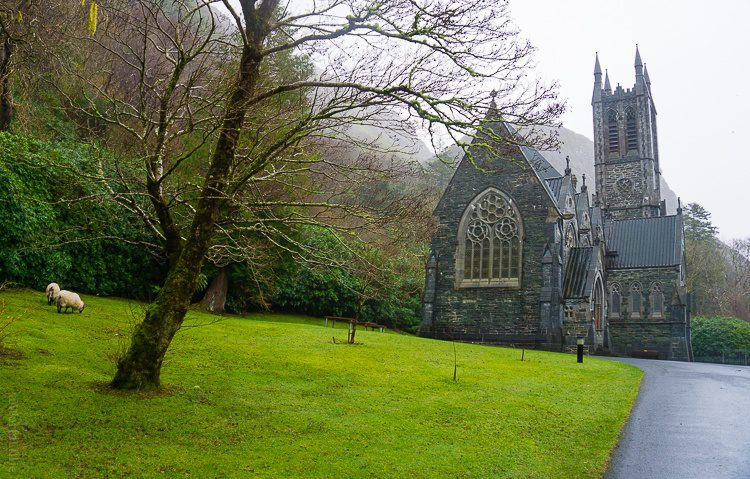The gothic church at Kylemore Abbey