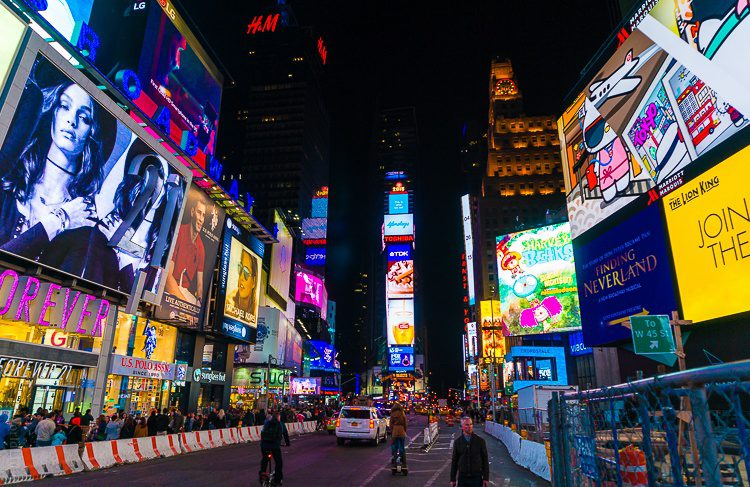 Wherever you look, Times Square is aglow.
