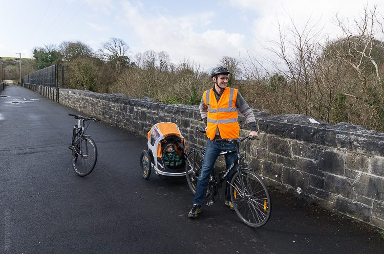 Biking with baby on the Great Western Greenway of Westport, Ireland.