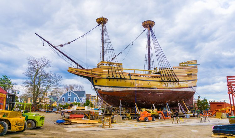 One of the many ships of Mystic, CT: The Mayflower II.
