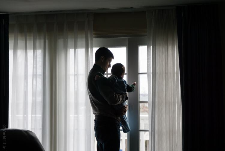A tender father and son moment in our hotel.