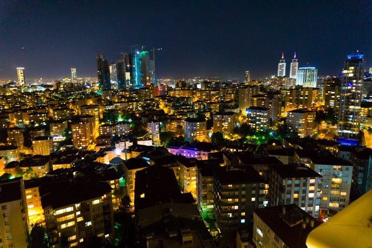 A view of downtown Istanbul, Turkey from a rooftop restaurant. Wow!