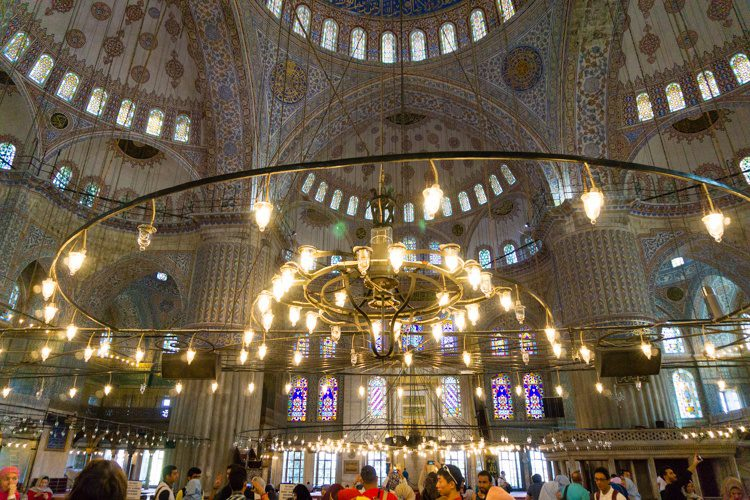 I love the chandeliers in the mosque.