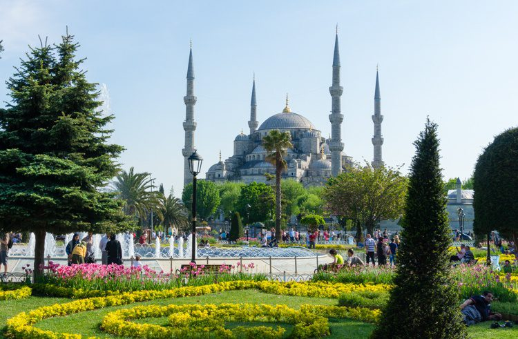 Gardens in front of the Blue Mosque.
