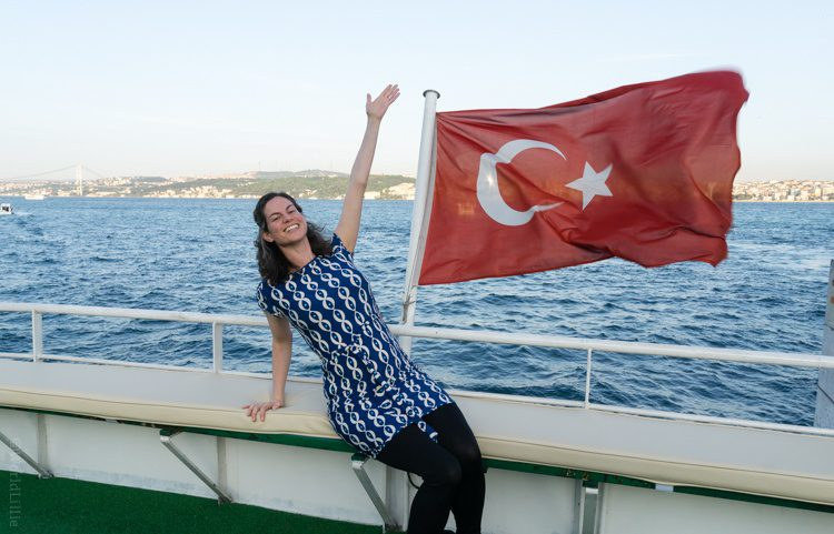 Hello! I'm on a boat in the Bosphorus!