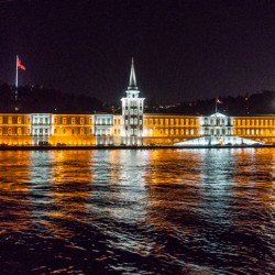 Beautiful Istanbul, Turkey at Night by Boat and Rooftop