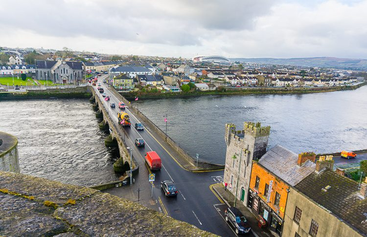 Looking down from King John's Castle over the River Shannon.