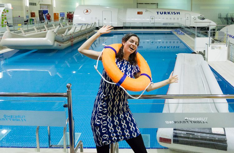 Where Turkish Airlines flight attendants practice evacuation for a water landing.