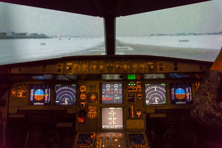 In the flight simulator, a press of the button changes the weather. Here: snow.