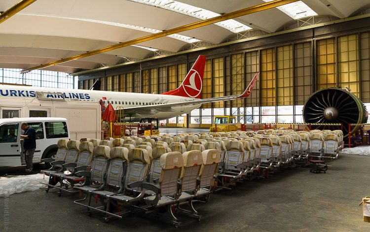 We got to see Turkish Technic upgrading the seats in a plane.