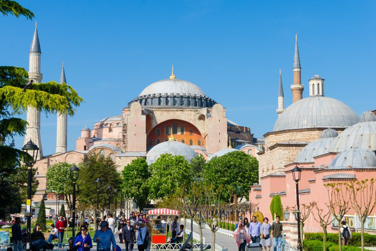 Hagia Sophia pink domes and minarets