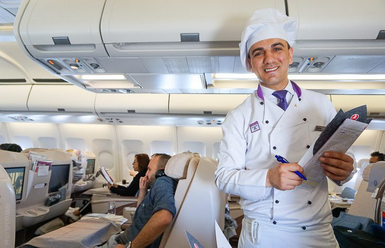 The famous Turkish Airlines on-board chef. See all that Business Class leg room?