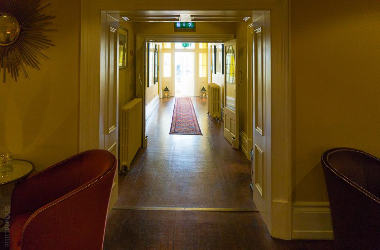 Golden hues in the hall to the front entrance.