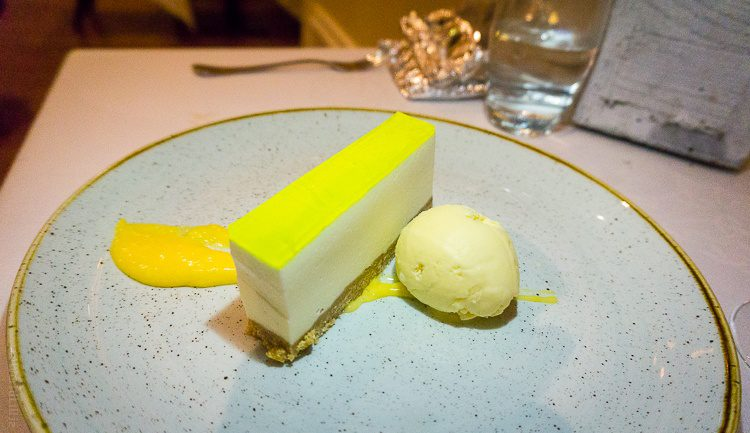 Our luminous dessert: Lemon cheesecake, lime jelly, and goat's cheese ice cream!