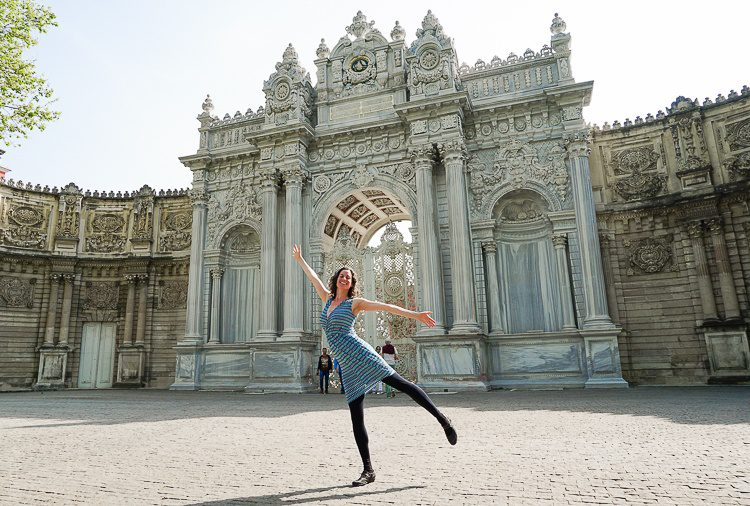 The Gate of the Sultan at the Dolmabace Palace in Istanbul worked with a fitted skirt.