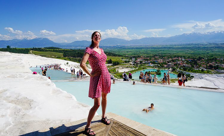 Pamukkale, Turkey is stunning: A naturally white mountain with azure pools.