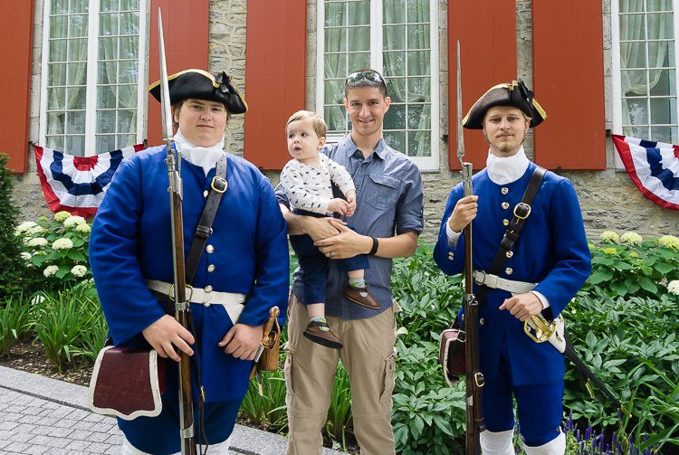 Our baby liked the costumed soldiers at Chateau Ramezay in Old Montreal!