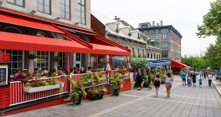 Place Jaques-Cartier in Old Montreal is a great place to eat and see street performers.