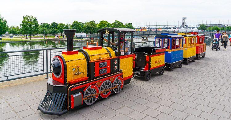 A mini-train chugs along Vieux-Port.