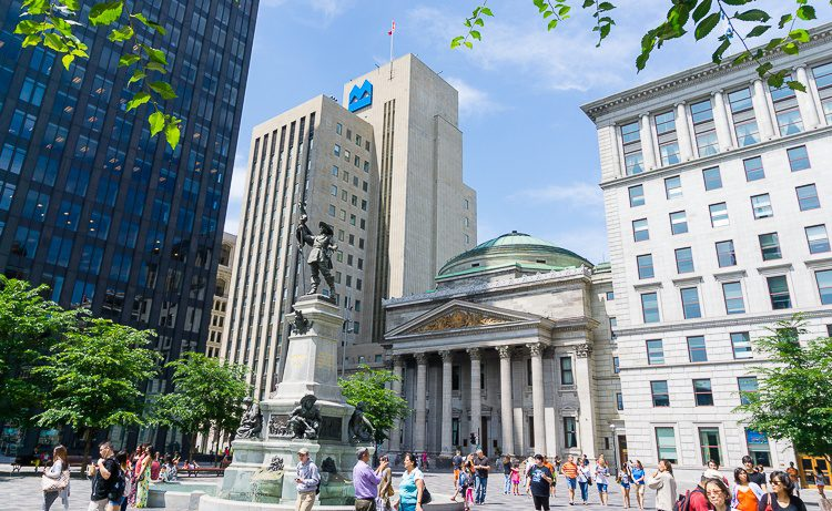 The plaza facing Notre-Dame in Old Montreal.
