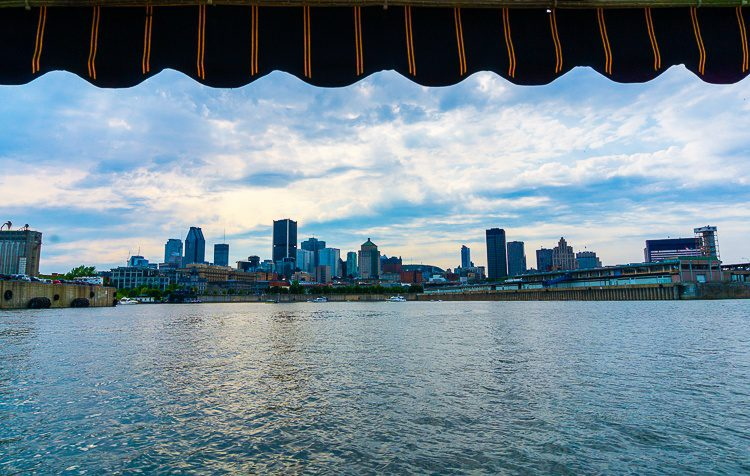 The view of Montreal from a boat is excellent.