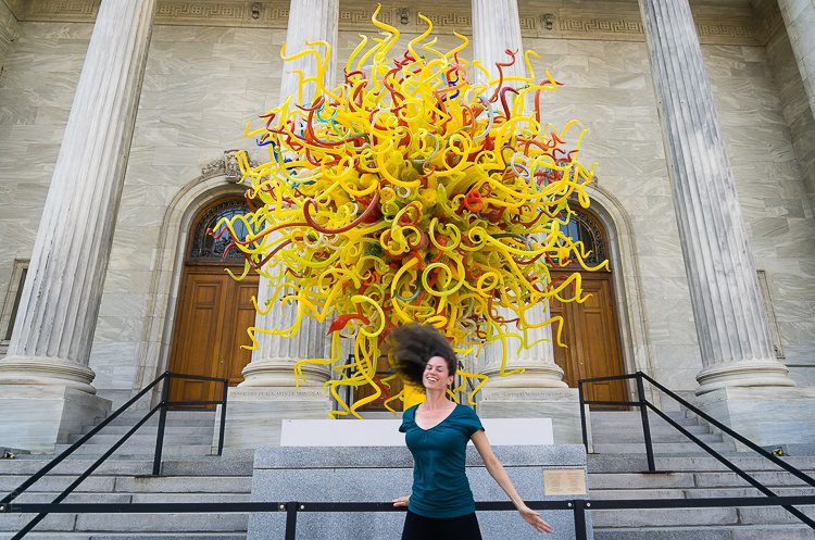 The famous yellow Chihuly sculpture outside the Museum of Fine Arts.
