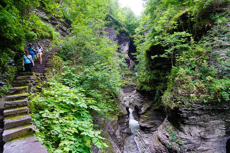The stairways at Watkins Glen are a little scary, but manageable.