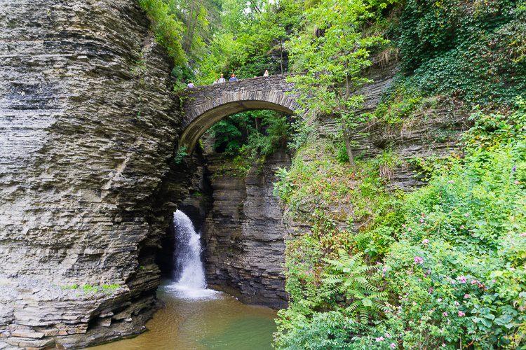 Watkins Glen State Park stone arch bridge and waterfall