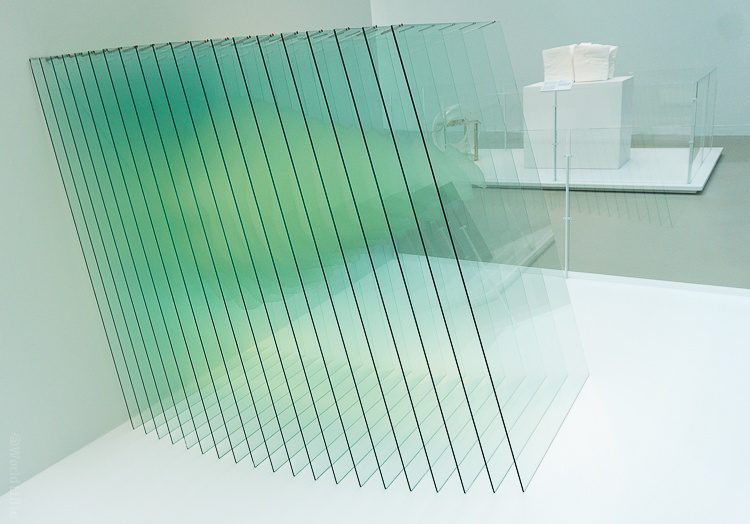 Corning glass museum sliced rock in glass