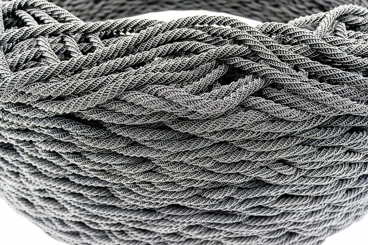 """Corning, NY glass museum: This """"rope tire"""" is made out of thousands of tiny glass beads, and took five years to assemble."""