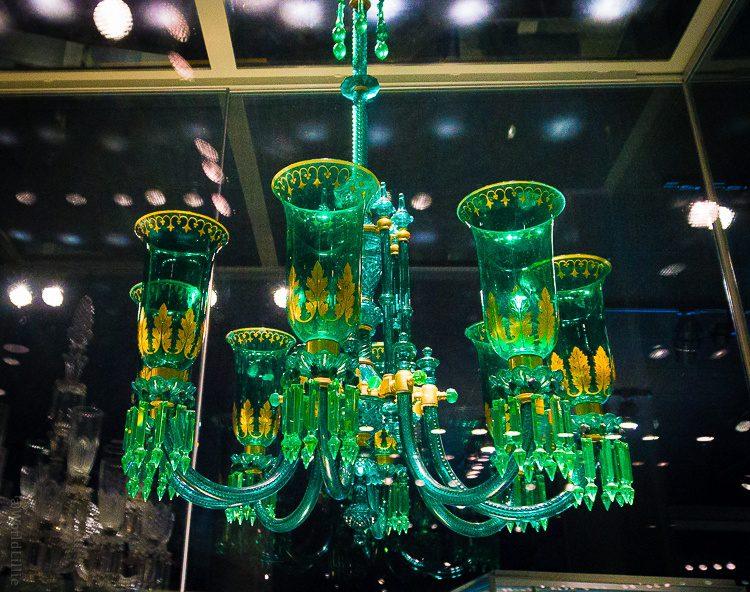 Corning museum green glass chandelier